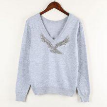 Women's V Neck Sweatshirt with Beaded Eagle