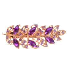 Women's Leaf Shaped Hair Clip with Rhinestones