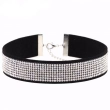 Women's Leather and Crystal Choker Necklace